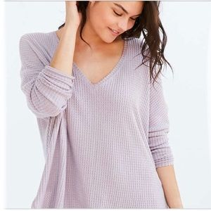Out from Under Thermal V Neck Sweater Lilac